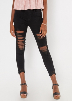 ultimate stretch black extra ripped curvy ankle jeans - Main Image