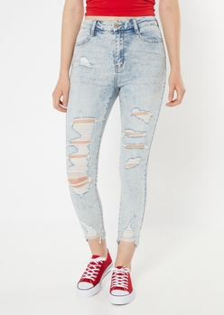 ultimate stretch acid wash ripped curvy jeggings - Main Image