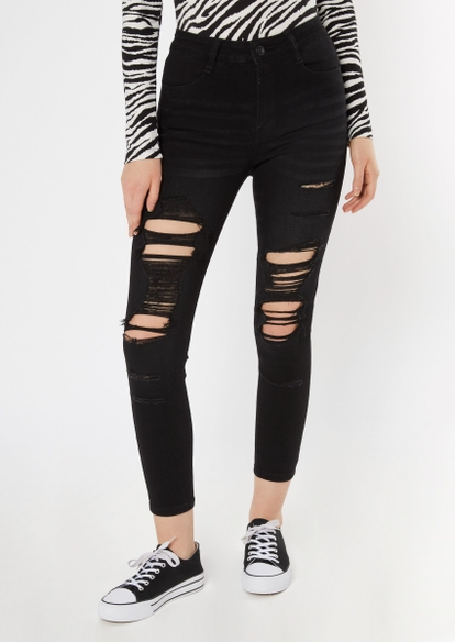 black high waisted ultra distressed jeans - Main Image