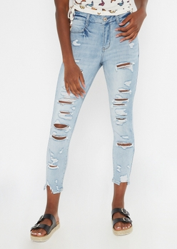medium wash ripped ankle curvy jeggings - Main Image