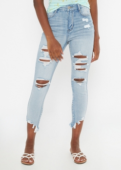 light wash extra high waisted ripped ankle jeggings - Main Image