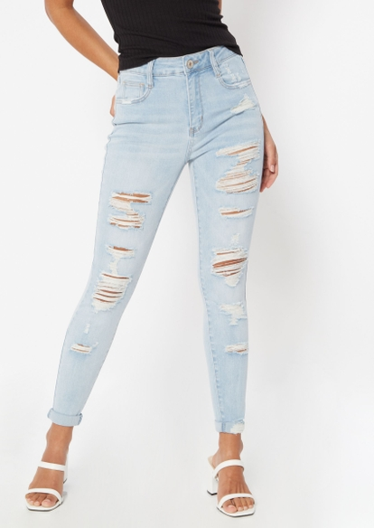 light wash high rise ultimate stretch roll cuff jeans - Main Image