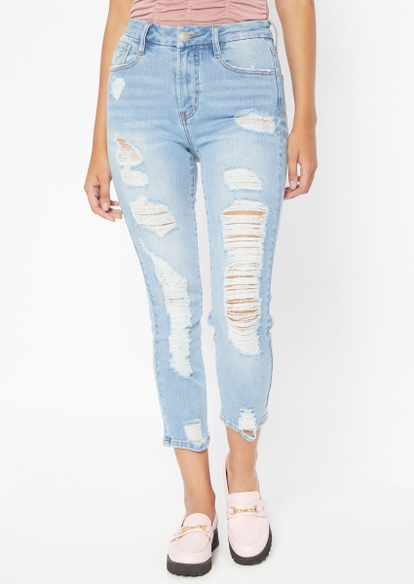 light wash high rise curvy extreme destressed mom jeans - Main Image