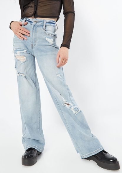light wash high rise curvy ripped skate jeans - Main Image