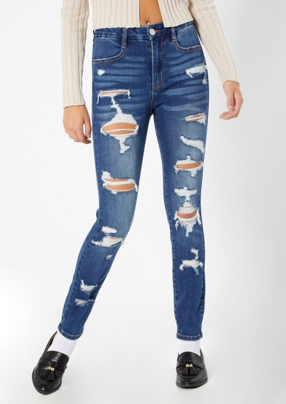 dark wash curvy stretch ripped ankle jeggings - Main Image