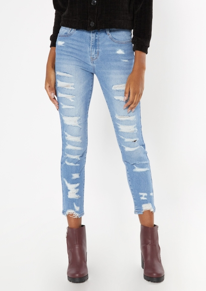 medium wash throwback ripped mom jeans - Main Image