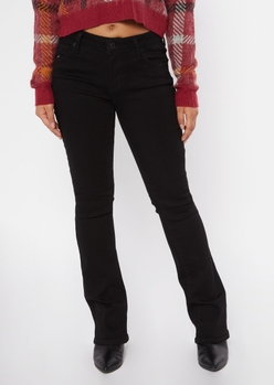 black mid rise bootcut jeans - Main Image