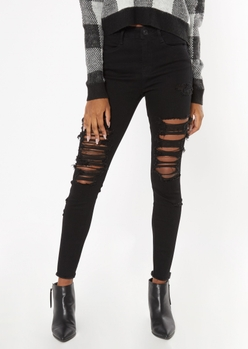 ultimate stretch black high waisted ripped jeggings - Main Image