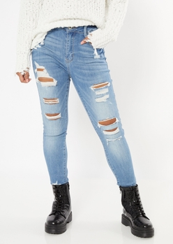 ultimate stretch medium wash ripped jeggings - Main Image