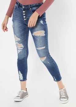 dark wash button front ripped jeggings - Main Image
