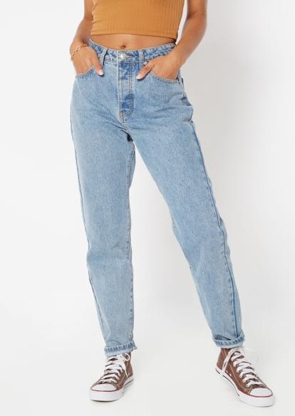 medium wash super high rise mom jeans - Main Image