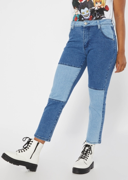 colorblock high rise straight leg ankle jeans - Main Image