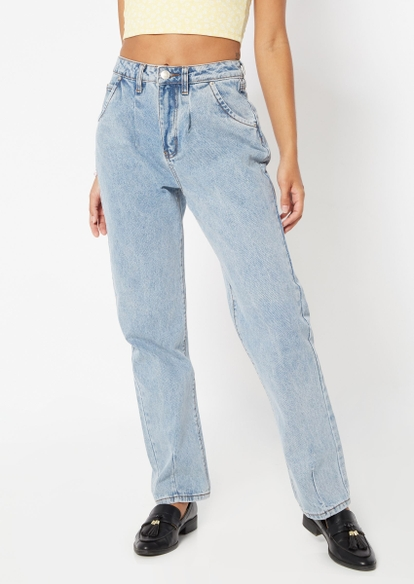 medium wash super high rise pleated barrel jeans - Main Image