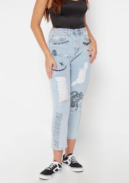 light wash doodle print super high rise ankle jeans - Main Image