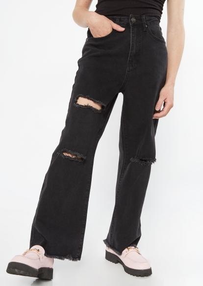 black super high rise ripped wide leg jeans - Main Image