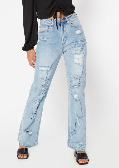 medium wash super high rise ripped skate jeans - Main Image