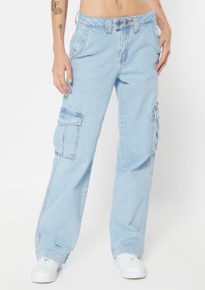 light wash high rise cargo wide leg skate jeans - Main Image
