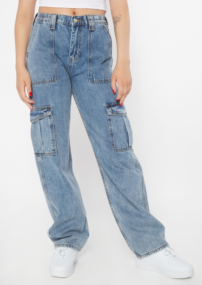 medium wash high rise cargo carpenter jeans - Main Image