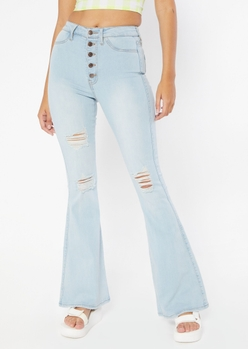 light wash high rise exposed button ripped flare jeans - Main Image