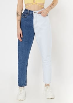 medium wash two tone mom jeans - Main Image