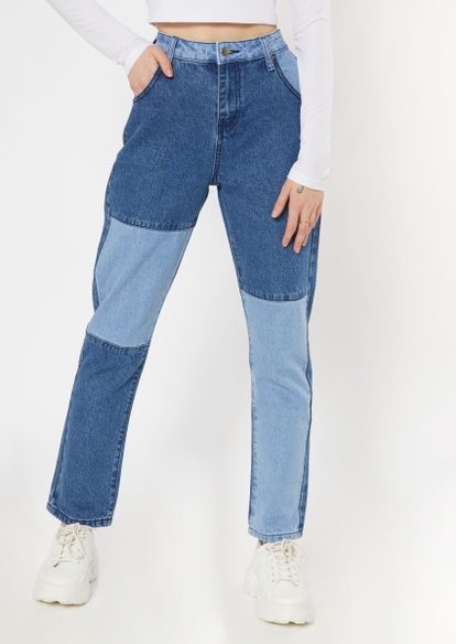 medium wash colorblock straight jeans - Main Image