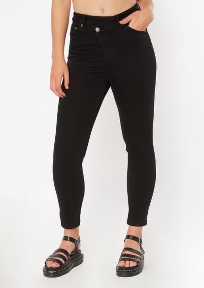 black asymmetrical waist ankle jeggings - Main Image