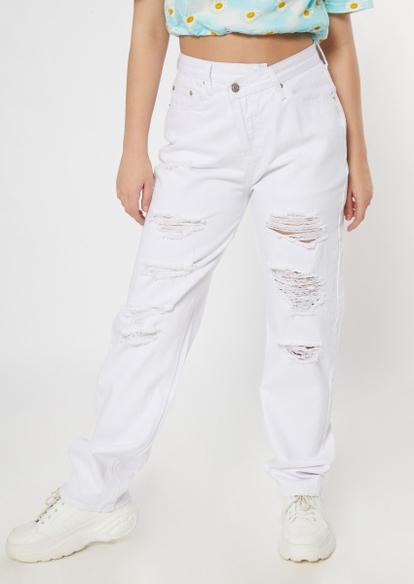 white asymmetrical waist straight jeans - Main Image
