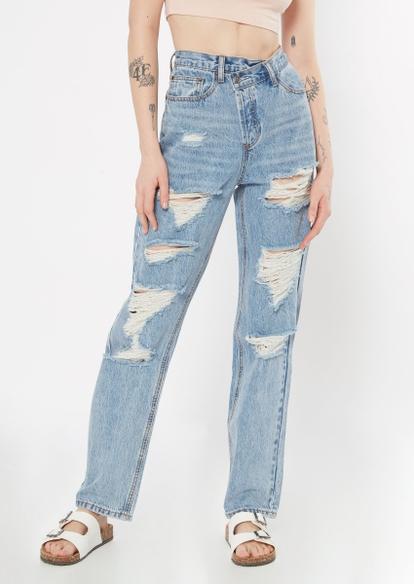 light wash asymmetrical waist straight jeans - Main Image