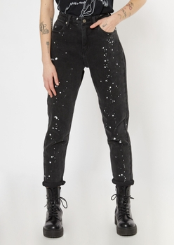 black paint splatter mom jeans - Main Image
