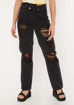 black asymmetrical waist ripped straight jeans - Main Image