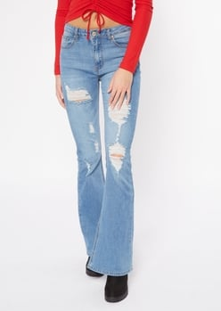 medium wash ripped recycled flare jeans - Main Image