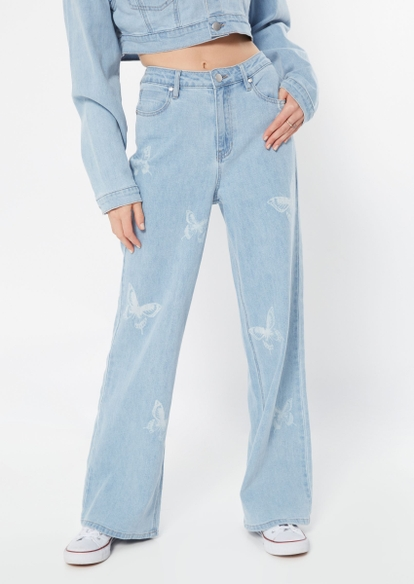 light wash butterfly print skate jeans - Main Image