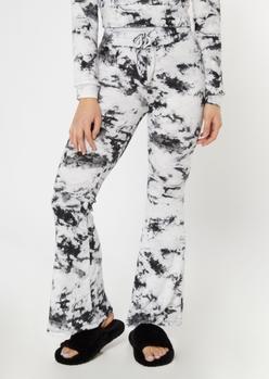 white tie dye hacci knit flare pants - Main Image