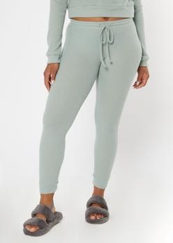 green ribbed super soft hacci leggings - Main Image
