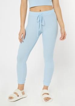 blue ribbed super soft hacci leggings - Main Image