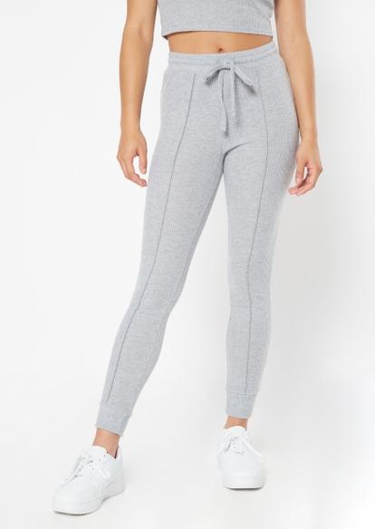 heather gray hacci seam front joggers - Main Image