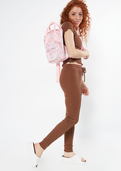 brown hacci seam front joggers - Main Image