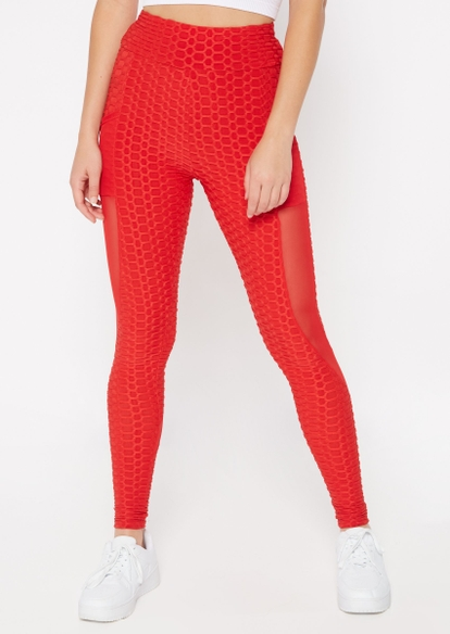 red honeycomb mesh inset ruched back leggings - Main Image