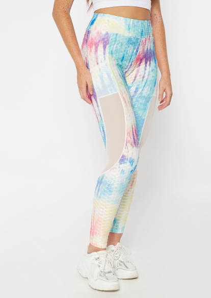 bright tie dye honeycomb mesh inset ruched back leggings - Main Image