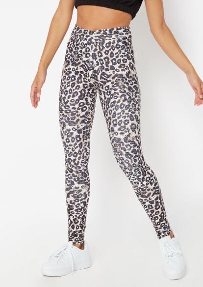 leopard print ruched back crossover v waist leggings - Main Image