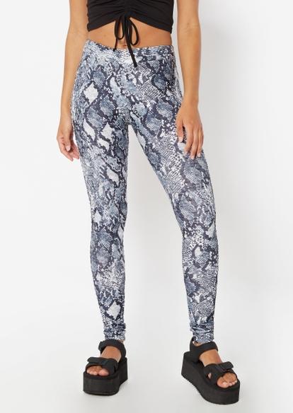 snakeskin print ruched back crossover v waist leggings - Main Image