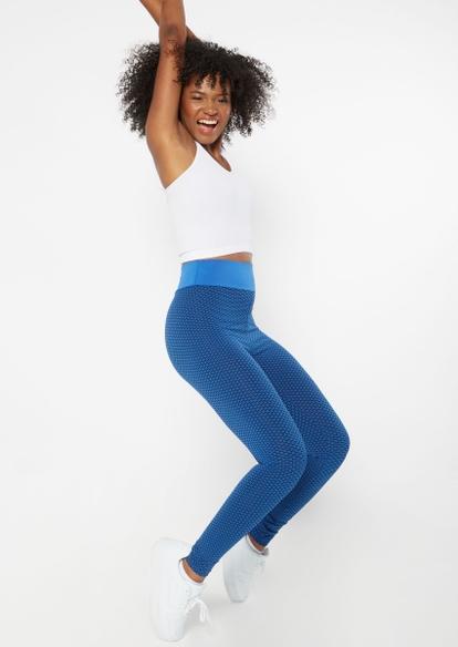 blue ruched back mesh honeycomb leggings - Main Image