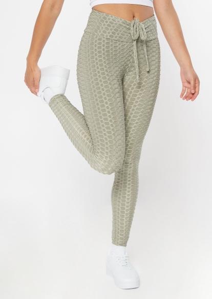 gray honeycomb ruched back leggings - Main Image