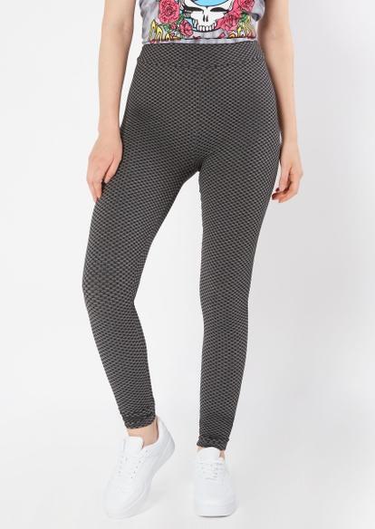 black honeycomb mesh ruched back leggings - Main Image