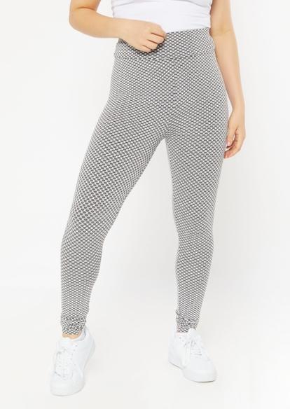 gray honeycomb mesh ruched back leggings - Main Image