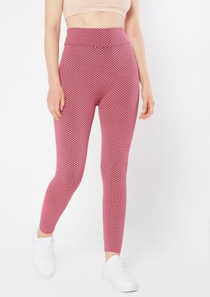 pink honeycomb mesh ruched back leggings - Main Image