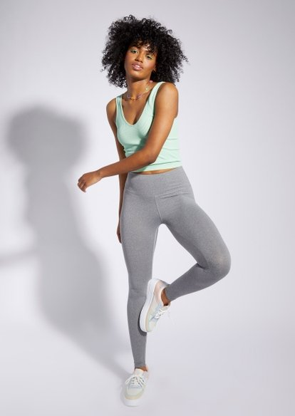 gray high waisted super soft leggings - Main Image