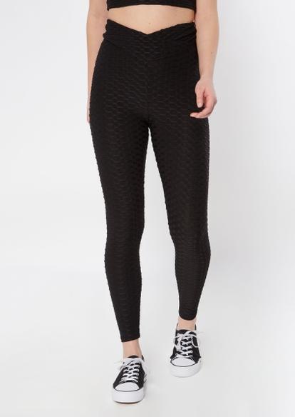 black honeycomb crossover leggings - Main Image