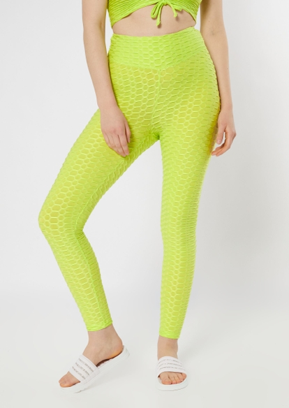 lime green honeycomb ruched back leggings - Main Image