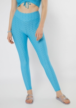 blue honeycomb ruched back leggings - Main Image